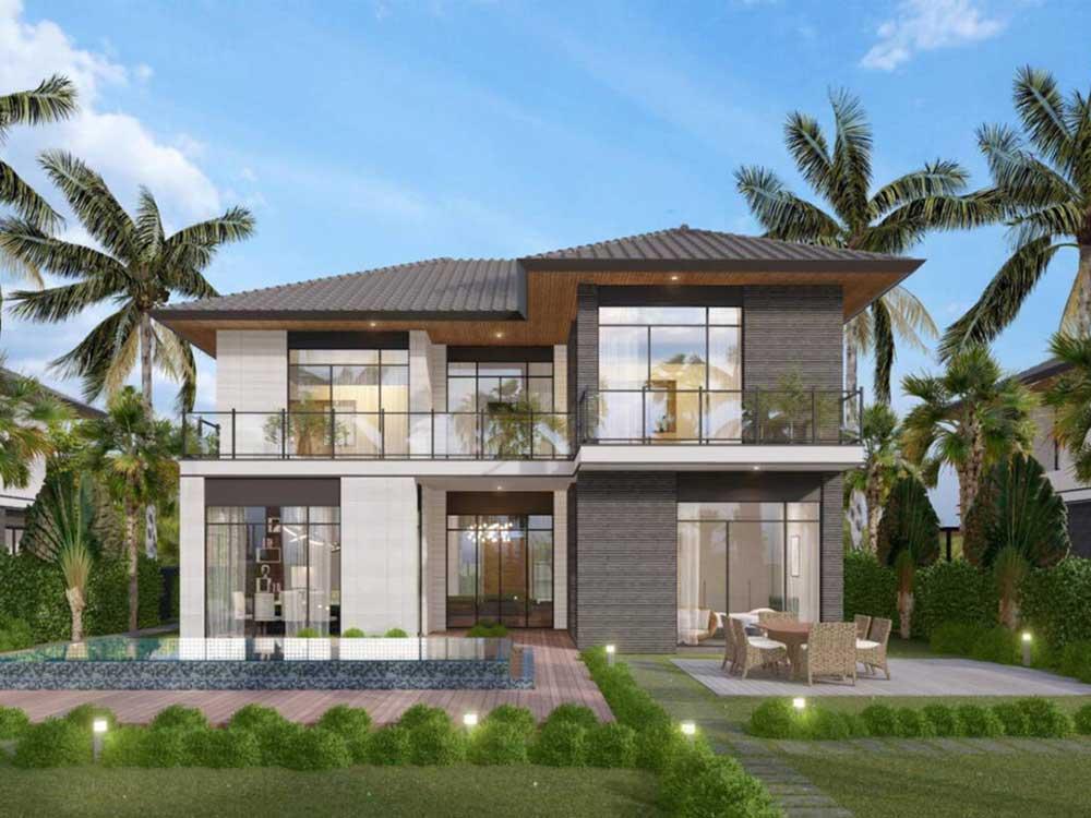 Mẫu 1 : Riverfront Grand Villa dự kiến với kích thước đất và 20mx30m và diện tích đất khoảng 600m2 được thiết kế với view hướng sông vô cùng hấp dẫn