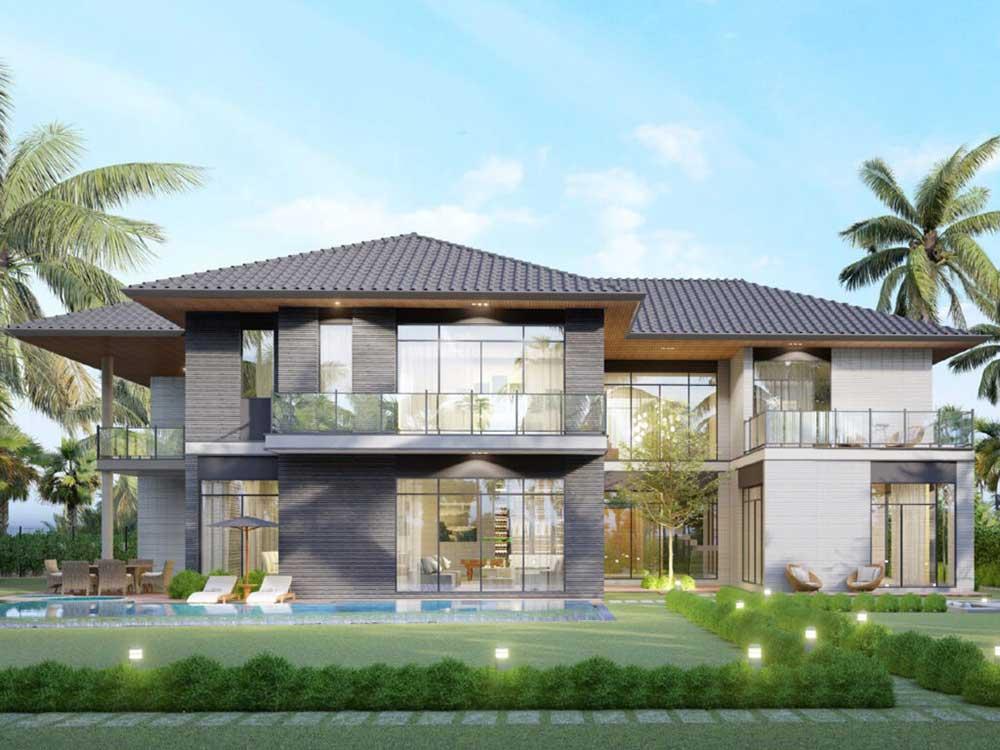 Riverfront Grand Villa mẫu dự kiến thứ 4 với diện tích đất khoảng 882 m2 sở hữu view hướng sông và mặt trước được thiết kế với sân vườn rộng rãi, thoải mái.