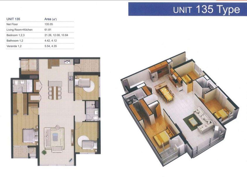 Căn Hộ 3 Phòng Ngủ - 135