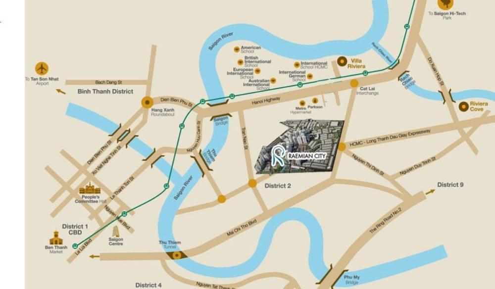 Vị trí dự án  tọa lạc 4 mặt tiền Lương Định Của P. Bình Khánh, Q.2, TP.HCM.