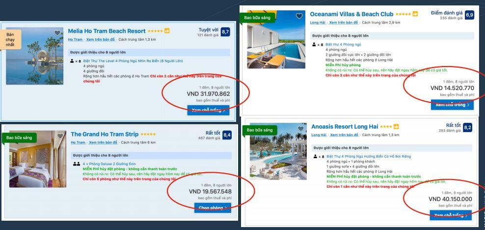 Giá Cho Thuê Tại Các Khu Resort Cao Cấp Khác