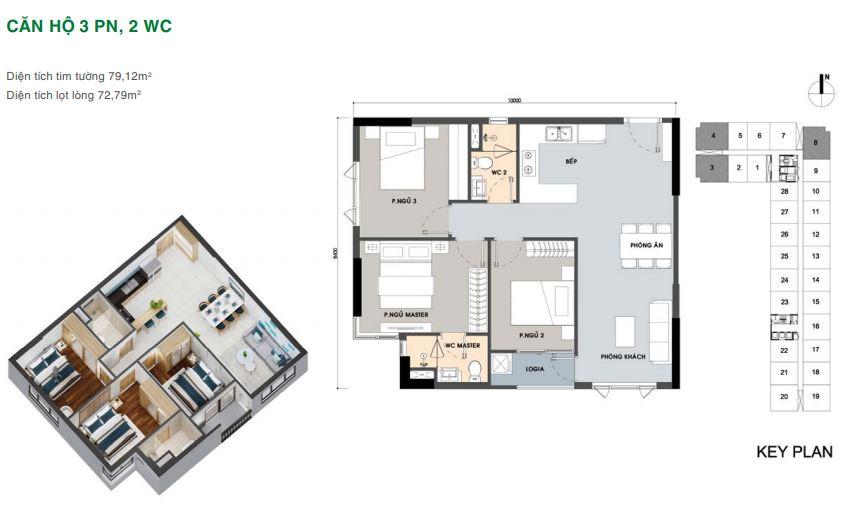 Mặt bằng căn hộ 3 phòng ngủ Picity