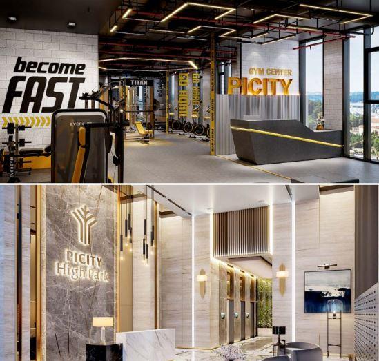 Sảnh chờ và phòng tập Gym tại Picity