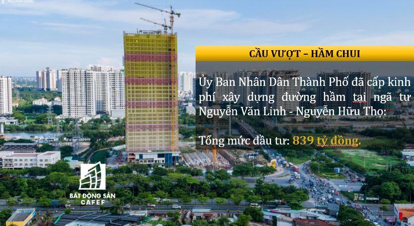 Cầu vượt hầm chui tại Nguyễn hữu Thọ - Nguyễn Văn Linh