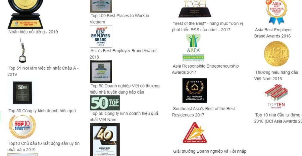 Các giải thưởng của tập đoàn Novaland