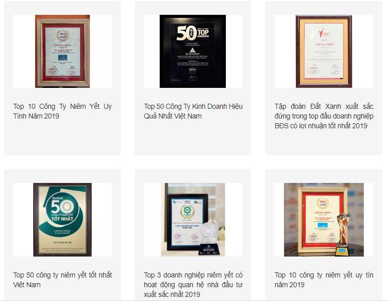 Các giải thưởng đạt được của Đất Xanh Group