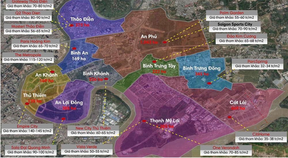 Giá Các Dự Án Xung Quanh Saigon Sport City