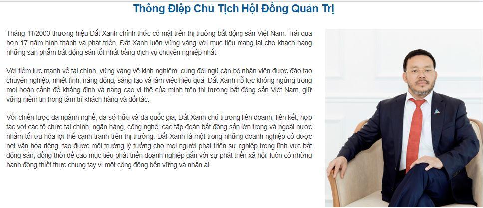 Thông điệp của chủ tịch tập đoàn Đất Xanh - Lương Trí Thìn