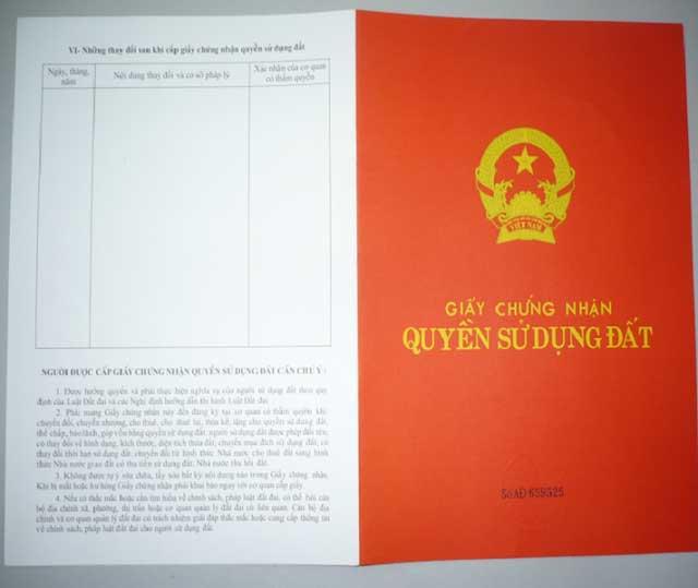 Các thông tin được thể hiện trên bìa sổ đỏ